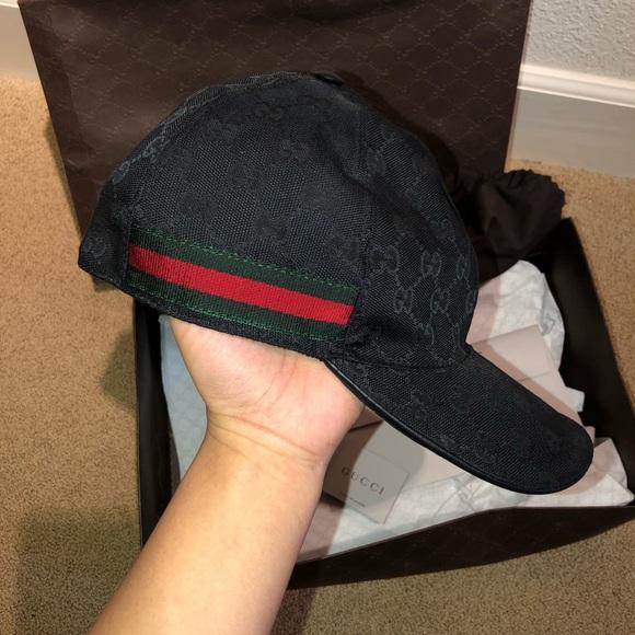 Black Gucci canvas baseball hat a04db751848f